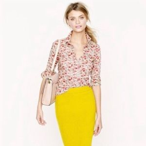 J. Crew The Pencil Skirt Yellow Wool Blend Lined